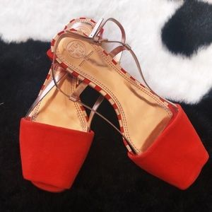 Tory Burch pietra leather sandals red suede